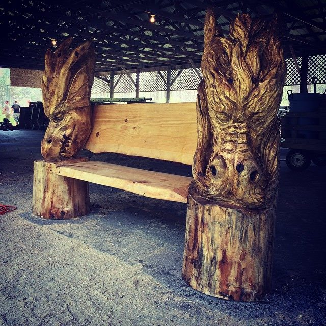 Carving, Dragon, Bench