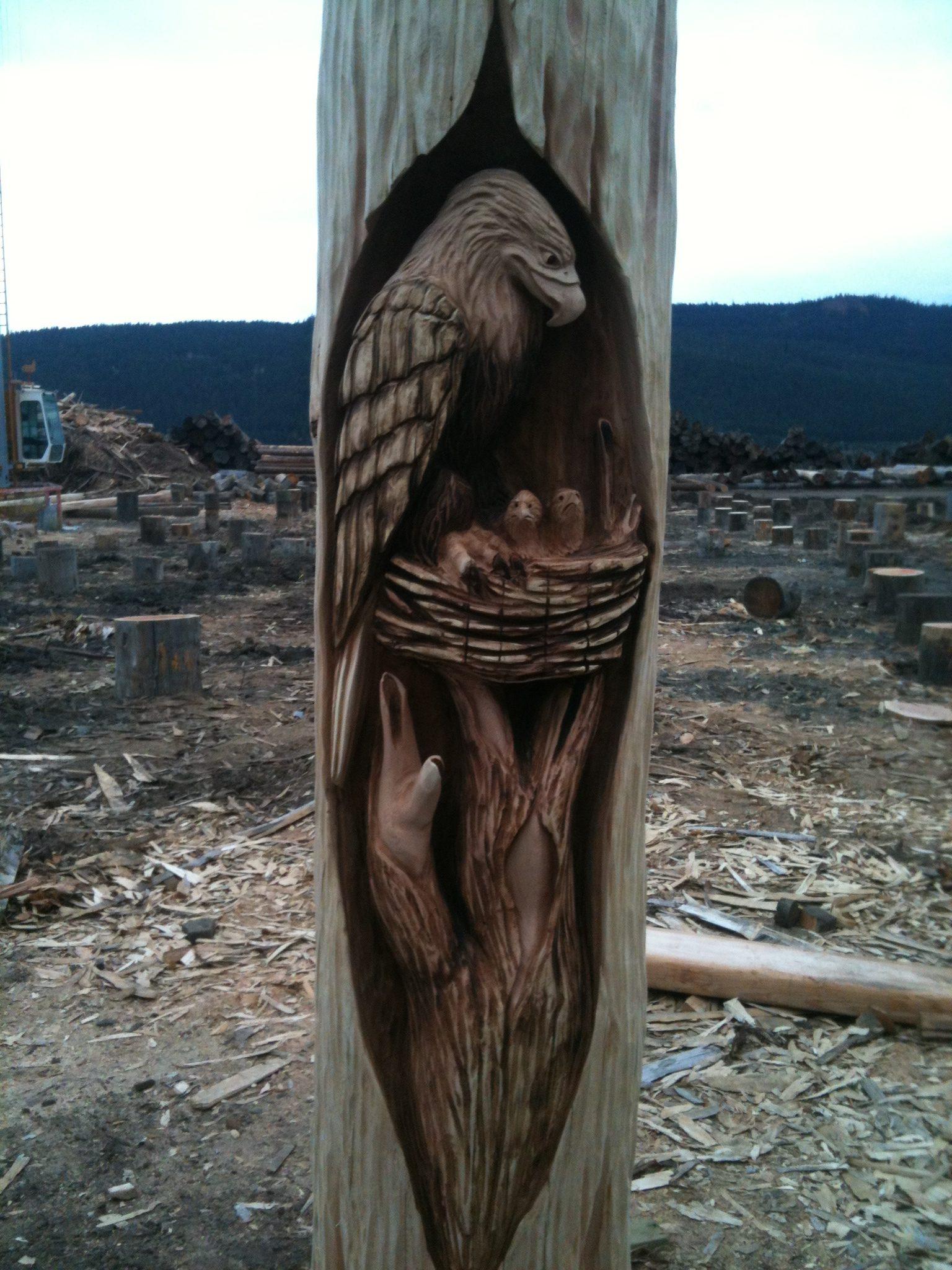 Carving, Eagle, Nest