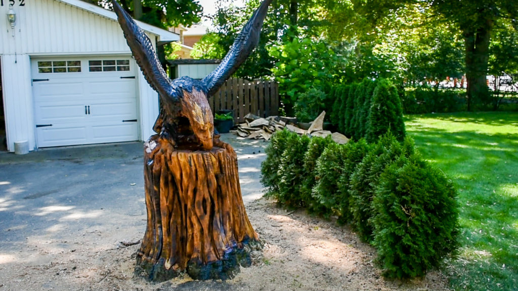 Bald eagle chainsaw carving finished by the carver kings